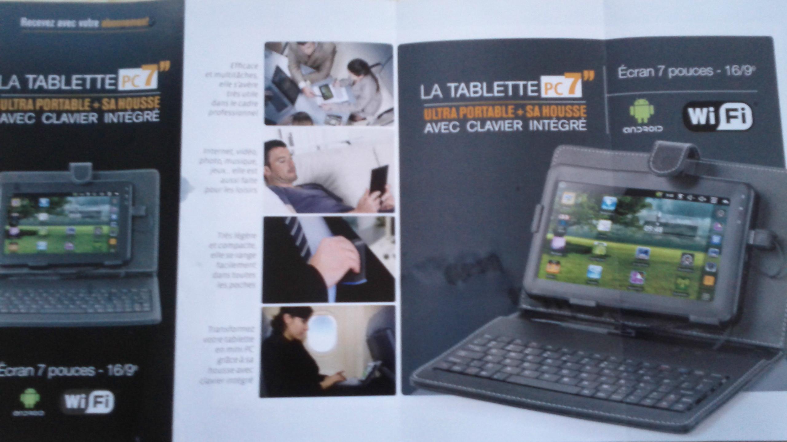 une tablette android 7 pouces vendue offerte avec un abonnement un magazine elle est fuir. Black Bedroom Furniture Sets. Home Design Ideas